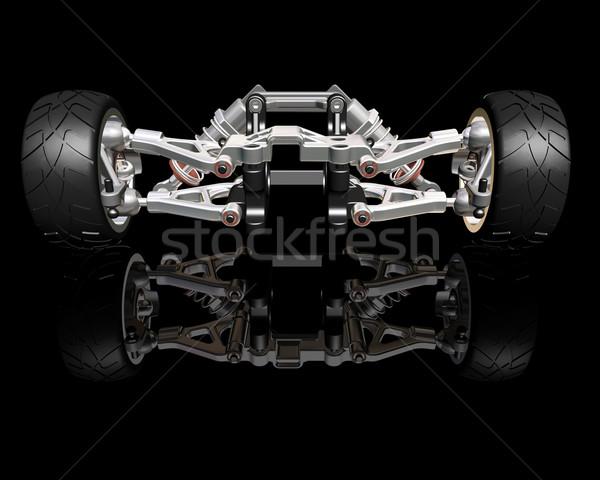 подвеска 3d визуализации Колеса власти двигатель шин Сток-фото © kjpargeter