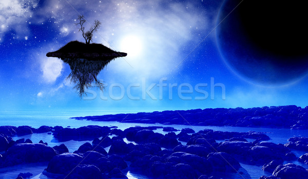 3D space background with floating island in the sky Stock photo © kjpargeter