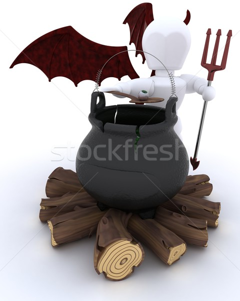 deamon with cauldron of eyeballs on log fire Stock photo © kjpargeter