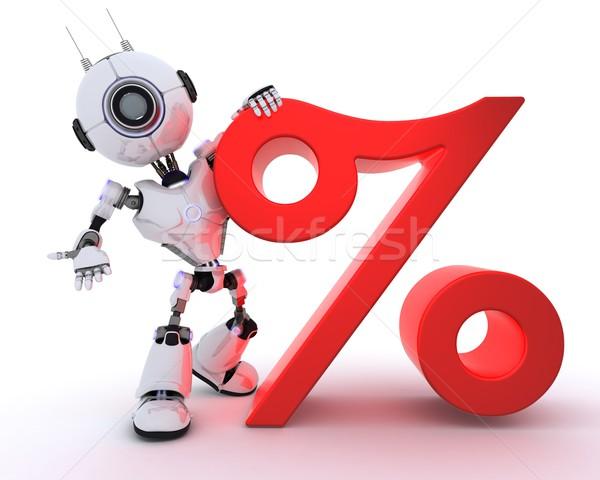 Robô percentagem símbolo 3d render negócio homem Foto stock © kjpargeter