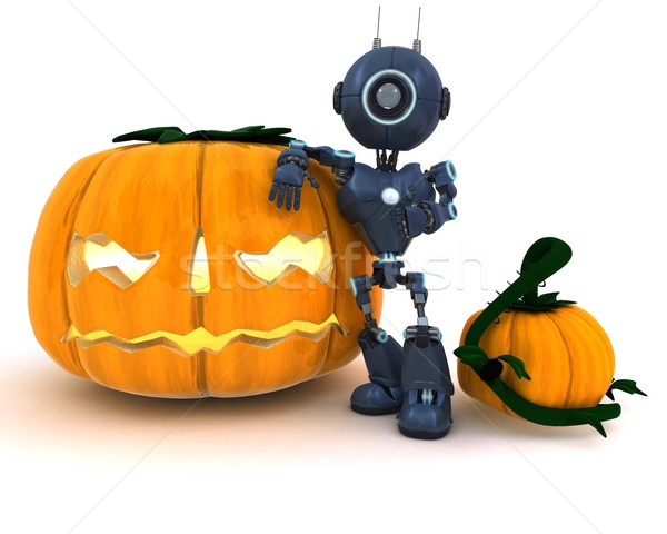 Android with holiday jack-o-lantern Stock photo © kjpargeter