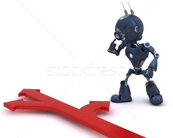 Android with direction arrows Stock photo © kjpargeter