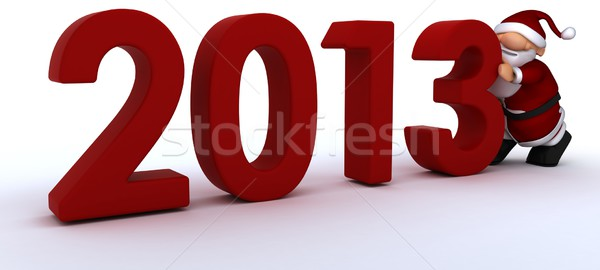 Cute Santa Claus Charicature bringing in the new year Stock photo © kjpargeter