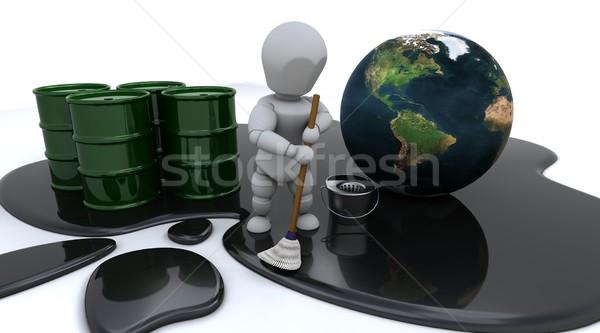 Homem limpeza para cima Óleo 3d render mapa Foto stock © kjpargeter