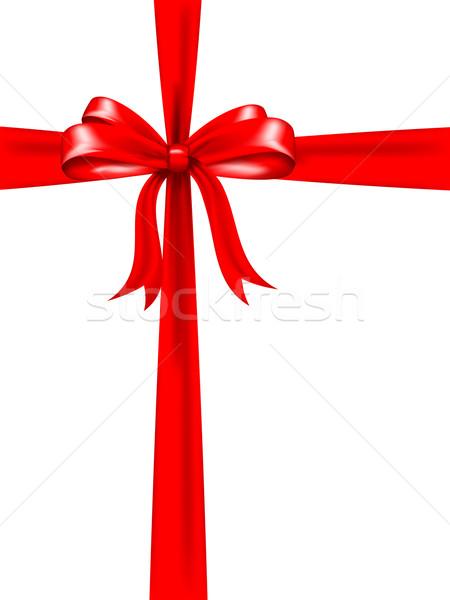 Piros íj ajándék háttér ajándék karácsony Stock fotó © kjpargeter