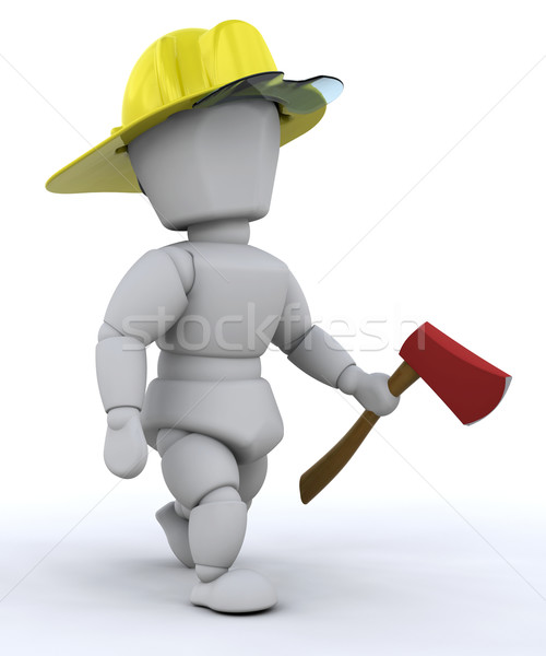Firefighter with axe Stock photo © kjpargeter