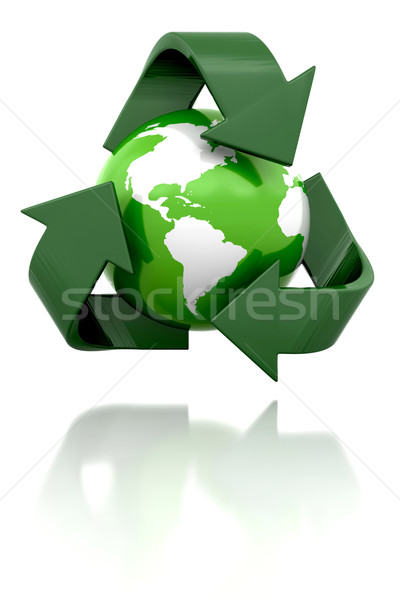 Wereldbol recycling icon 3d render Stockfoto © kjpargeter