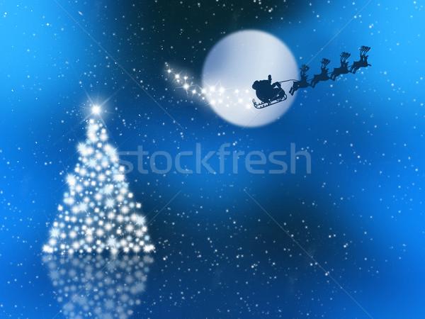 Stok fotoğraf: Gökyüzü · noel · baba · gece · gökyüzü · ağaç