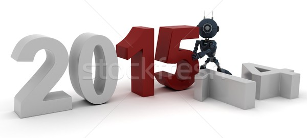Androide año nuevo 3d nuevos año Foto stock © kjpargeter