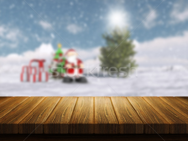 Wooden table with defocussed Christmas santa landscape in the ba Stock photo © kjpargeter