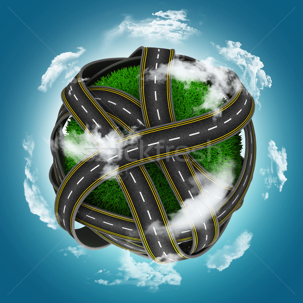 3D grassy globe with roads against a blue cloudy sky Stock photo © kjpargeter