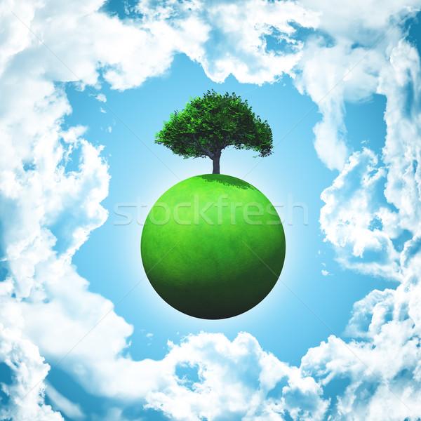 Rendu 3d herbeux monde arbre nuages Photo stock © kjpargeter