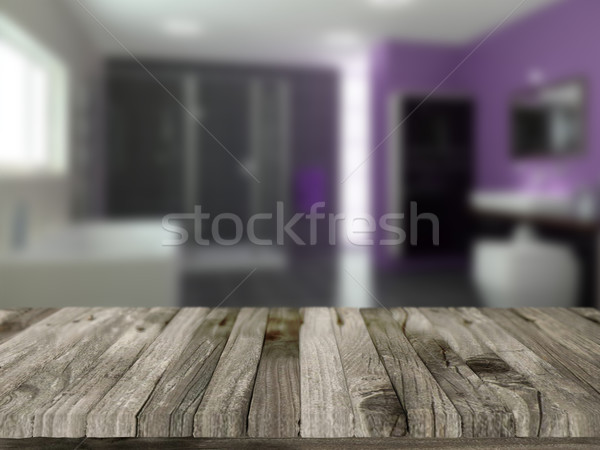 Wooden table with defocussed bathroom image Stock photo © kjpargeter