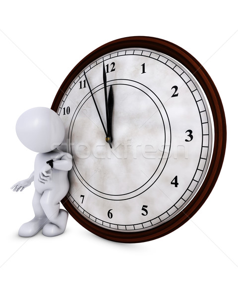 3D hombre reloj medianoche 3d Foto stock © kjpargeter