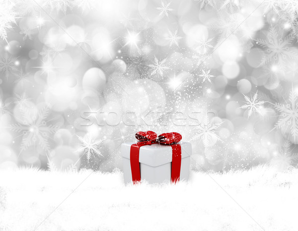 Christmas gift in snow Stock photo © kjpargeter