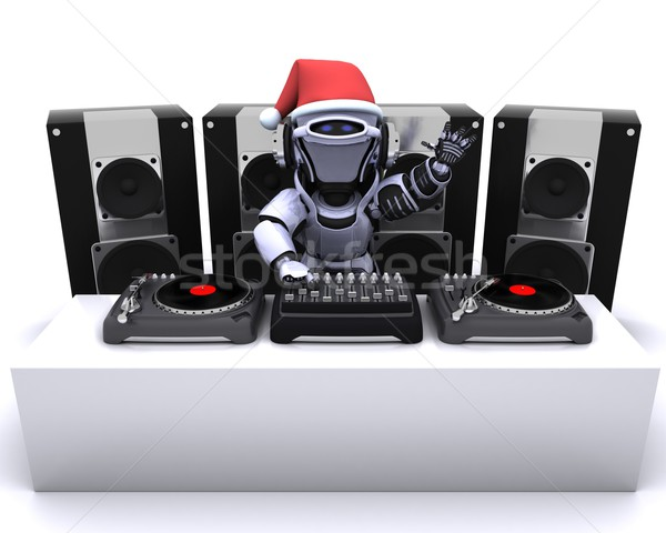 Christmas Robot  DJ mixing records on turntables Stock photo © kjpargeter