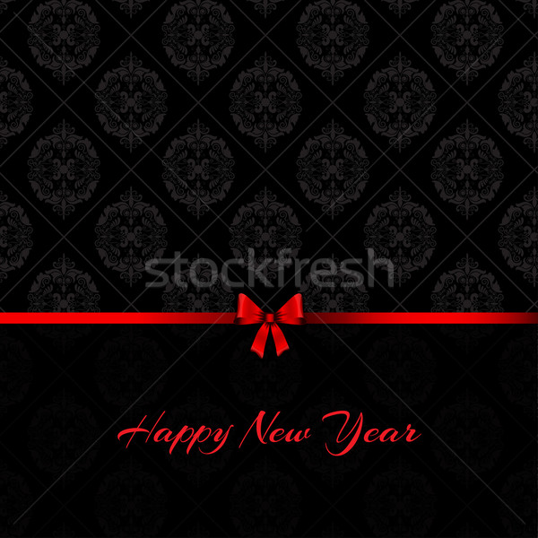 Damassé happy new year Noël design rouge Photo stock © kjpargeter