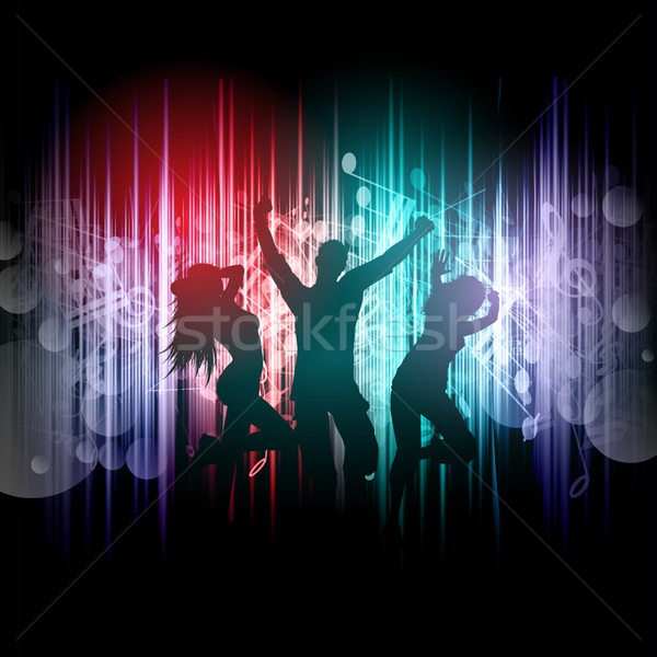 Party people on music notes background  Stock photo © kjpargeter