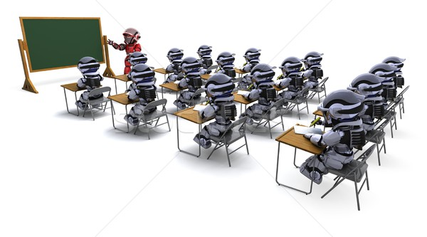 robot teacher in classroom Stock photo © kjpargeter