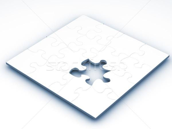 Befejezetlen puzzle 3d render egyrészes ruha hiányzó játék Stock fotó © kjpargeter