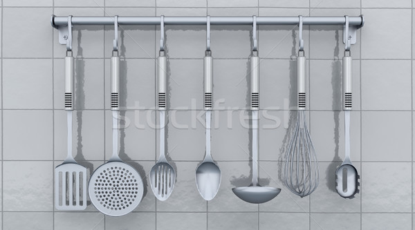kitchen utensils on a rack Stock photo © kjpargeter