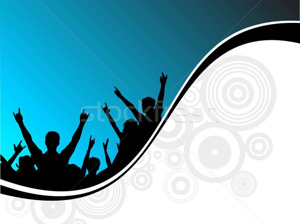 Stockfoto: Partij · silhouetten · mensen · muziek · meisje · man