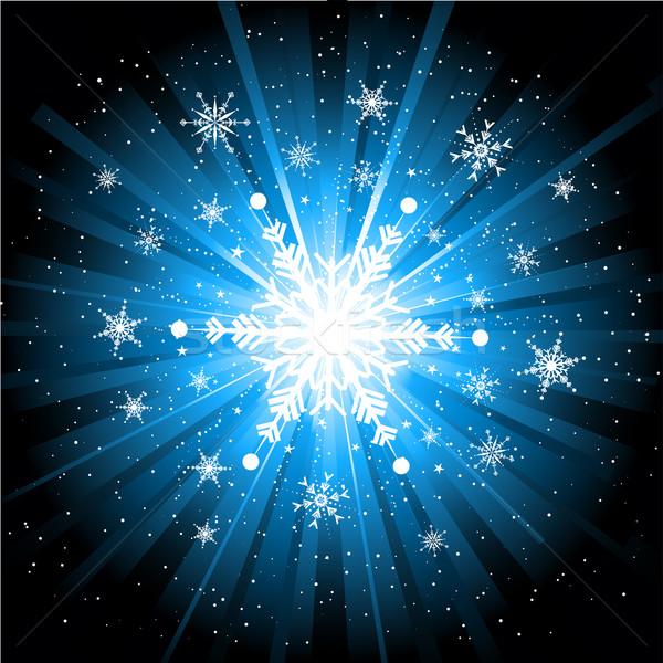 Stock fotó: Hópehely · karácsony · hópelyhek · csillagok · absztrakt · hó