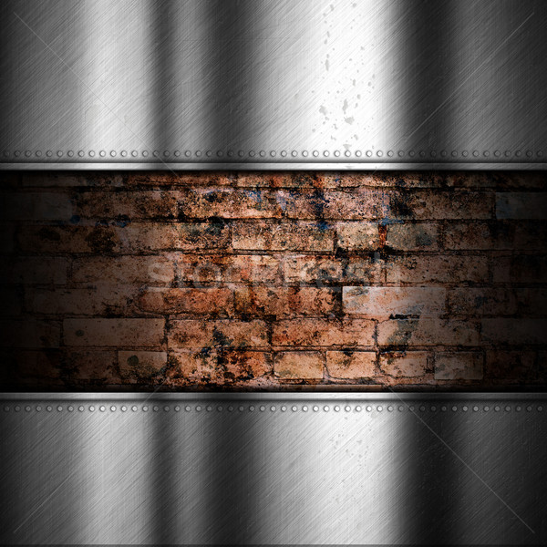Brushed metal background with brick Stock photo © kjpargeter