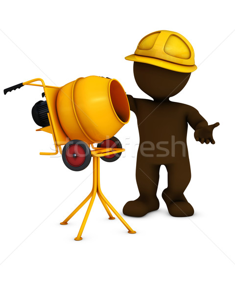 Człowiek budowniczy cementu miksera 3d Zdjęcia stock © kjpargeter