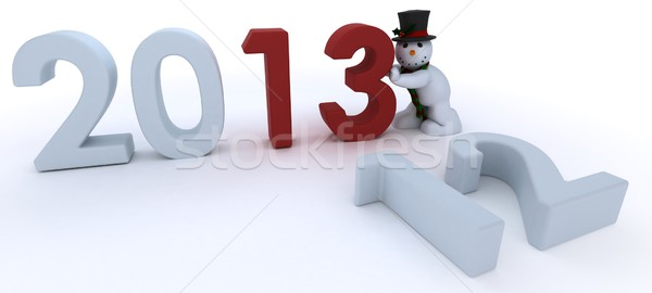 Snowman in hat and scarf  bringing in the new year Stock photo © kjpargeter
