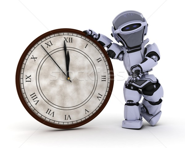 Robot with clock at new years Stock photo © kjpargeter
