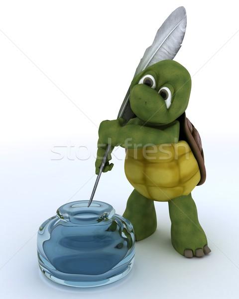 Teknősbéka tinta kút 3d render víz kagyló Stock fotó © kjpargeter