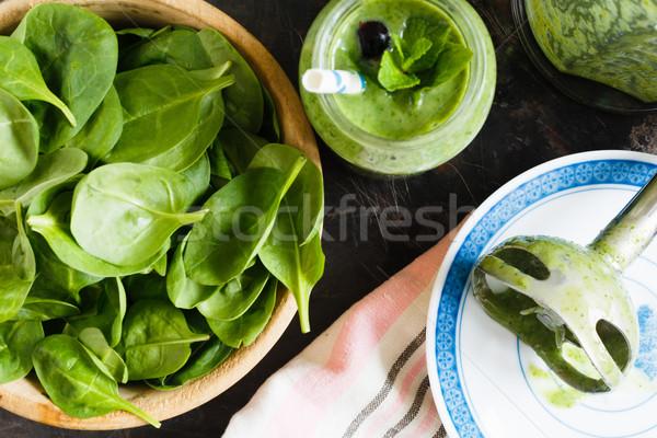グリーンスムージー jarファイル バナナ ほうれん草 ブレンダー 新鮮な ストックフォト © kkolosov