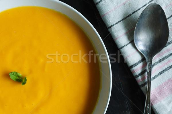 Citrouille soupe plaque sombre décoré menthe Photo stock © kkolosov