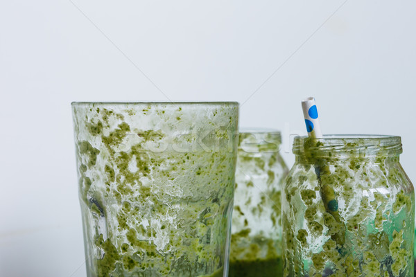 Vide verres smoothie vert coup fruits Photo stock © kkolosov