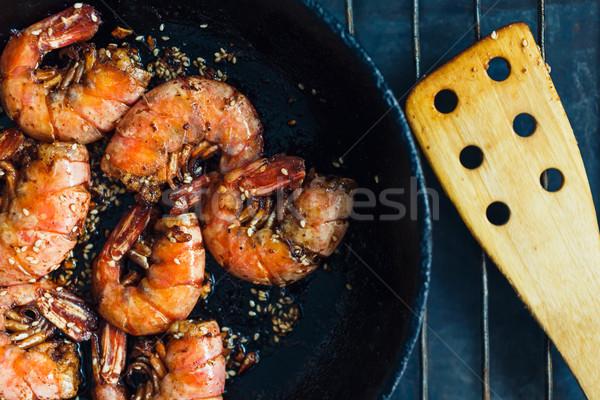 Crevettes frit ail sauvage rouge Photo stock © kkolosov