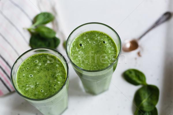 Deux smoothie vert verre banane épinards fraîches Photo stock © kkolosov