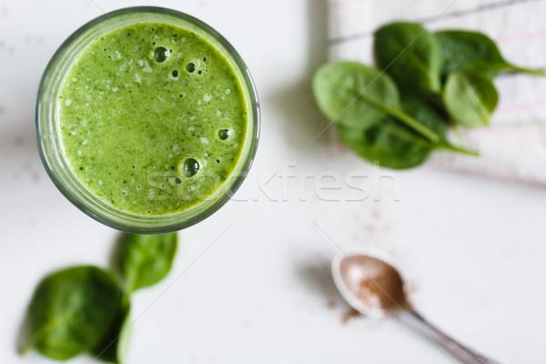 Smoothie vert verre banane épinards fraîches herbes Photo stock © kkolosov
