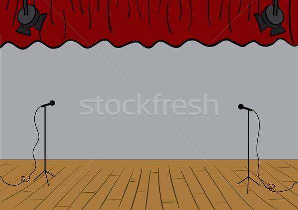 Théâtre stade vecteur rideaux up bois Photo stock © klauts