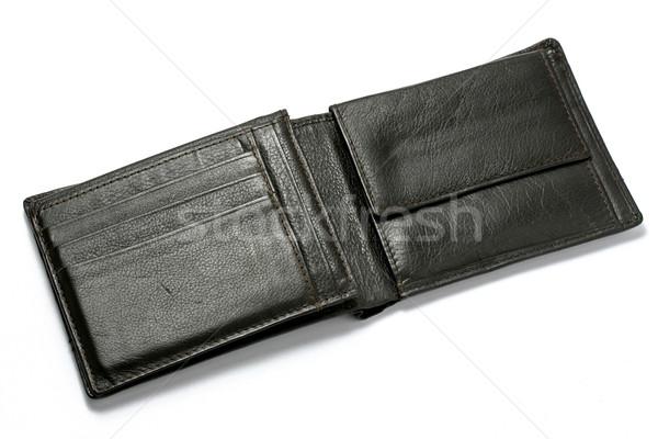 Noir portefeuille cuir isolé blanche affaires Photo stock © klauts