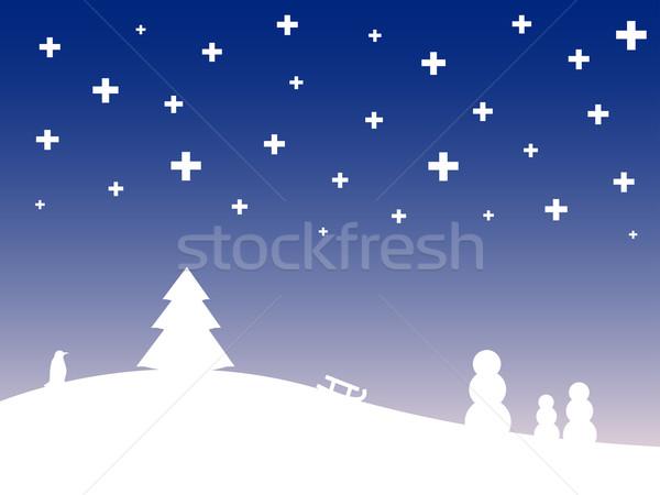 Stylisé hiver paysage bois ville résumé Photo stock © klauts