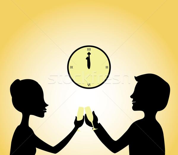 Nouvelle année Toast vecteur silhouettes couple Photo stock © klauts