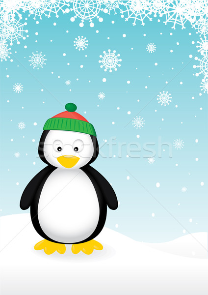 Cute pingouin vecteur lumière neige fond Photo stock © klauts