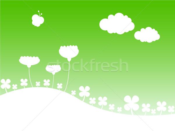 Stylisé printemps paysage ciel fleurs arbre Photo stock © klauts