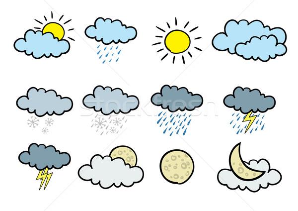Cartoon météorologiques 12 vecteur icônes Photo stock © klauts