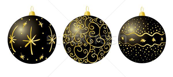 Noir Noël décorations vecteur élégante art Photo stock © klauts