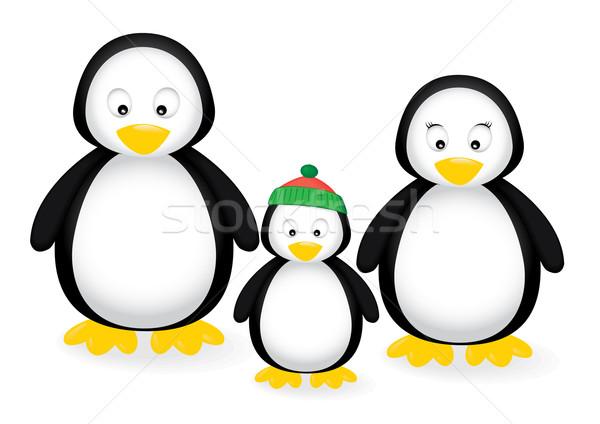Pingouin famille nature fond glace bleu Photo stock © klauts