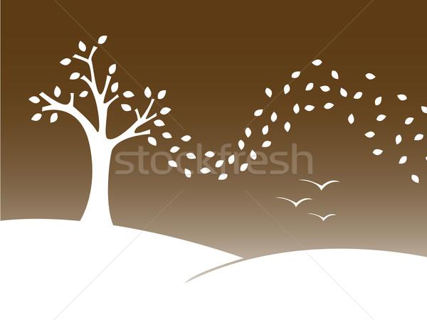Stylisé automne paysage arbre herbe forêt Photo stock © klauts