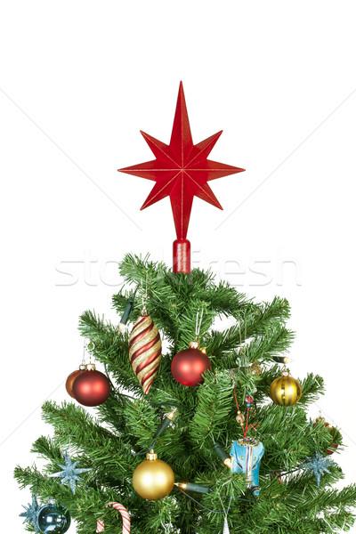 Kerstboom top ornamenten detail mooie geïsoleerd Stockfoto © klikk
