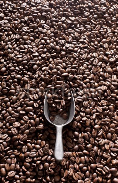Koffie schep koffiebonen selectieve aandacht voedsel lepel Stockfoto © klikk